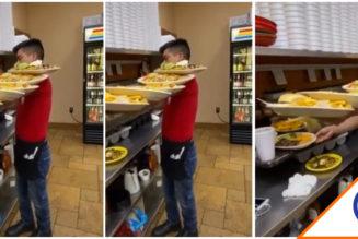 #Viral: Joven se hace viral por cargar seis platos con un brazo