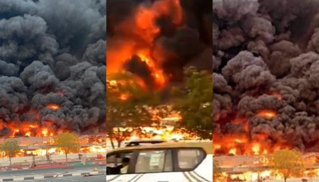 Fuerte incendio en Emiratos Árabes consume mercado