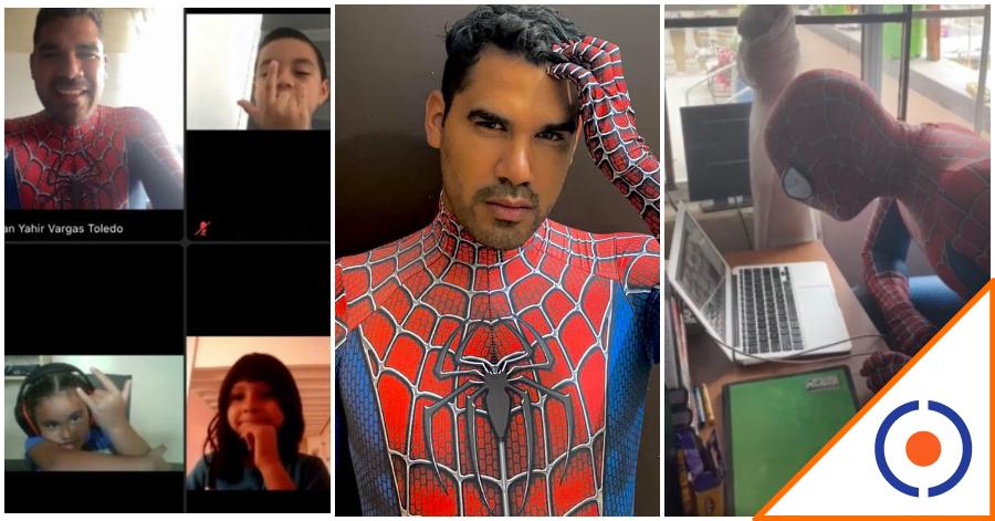 #Viral: Profesor da clases disfrazado del Hombre Araña… ¡Amor por enseñar!