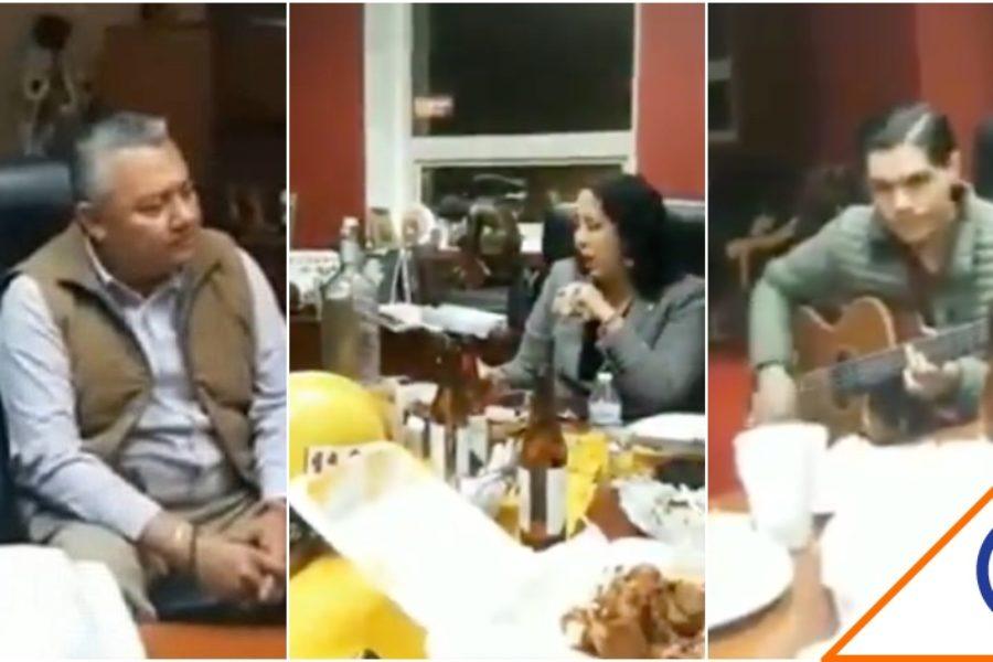 #WTF: Alcaldesa de Morena arma fiesta en oficina.. Con todo y norteño