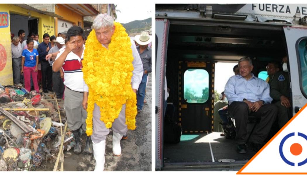 """#TBT: El día que Obrador visitó a afectados por el huracán """"Manuel"""" en Guerrero"""