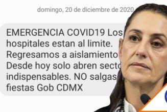 #CDMX: Sheinbaum avisa por SMS que los hospitales están llenos… ruega no salir