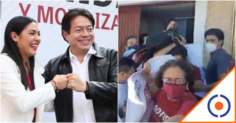 #Tómala: Agarran a huevazos a Mario Delgado y a precandidata de Colima
