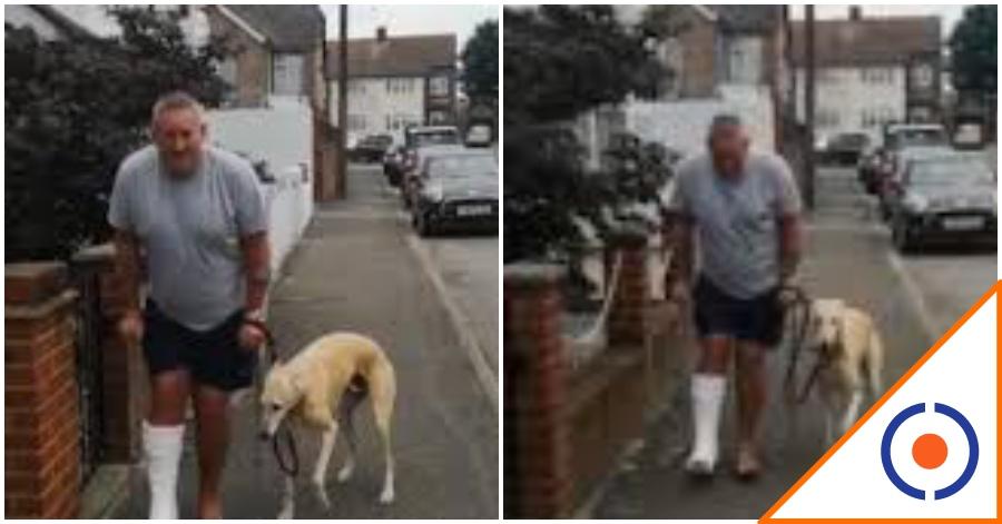 #Joya: Perro imita a su dueño que está en muletas… Vuelan en las redes
