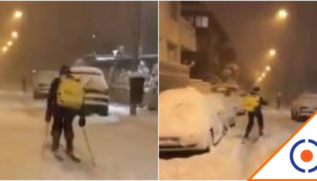 #Crack: Repartidor de comida entregó pedido esquiando… Pasó en Madrid