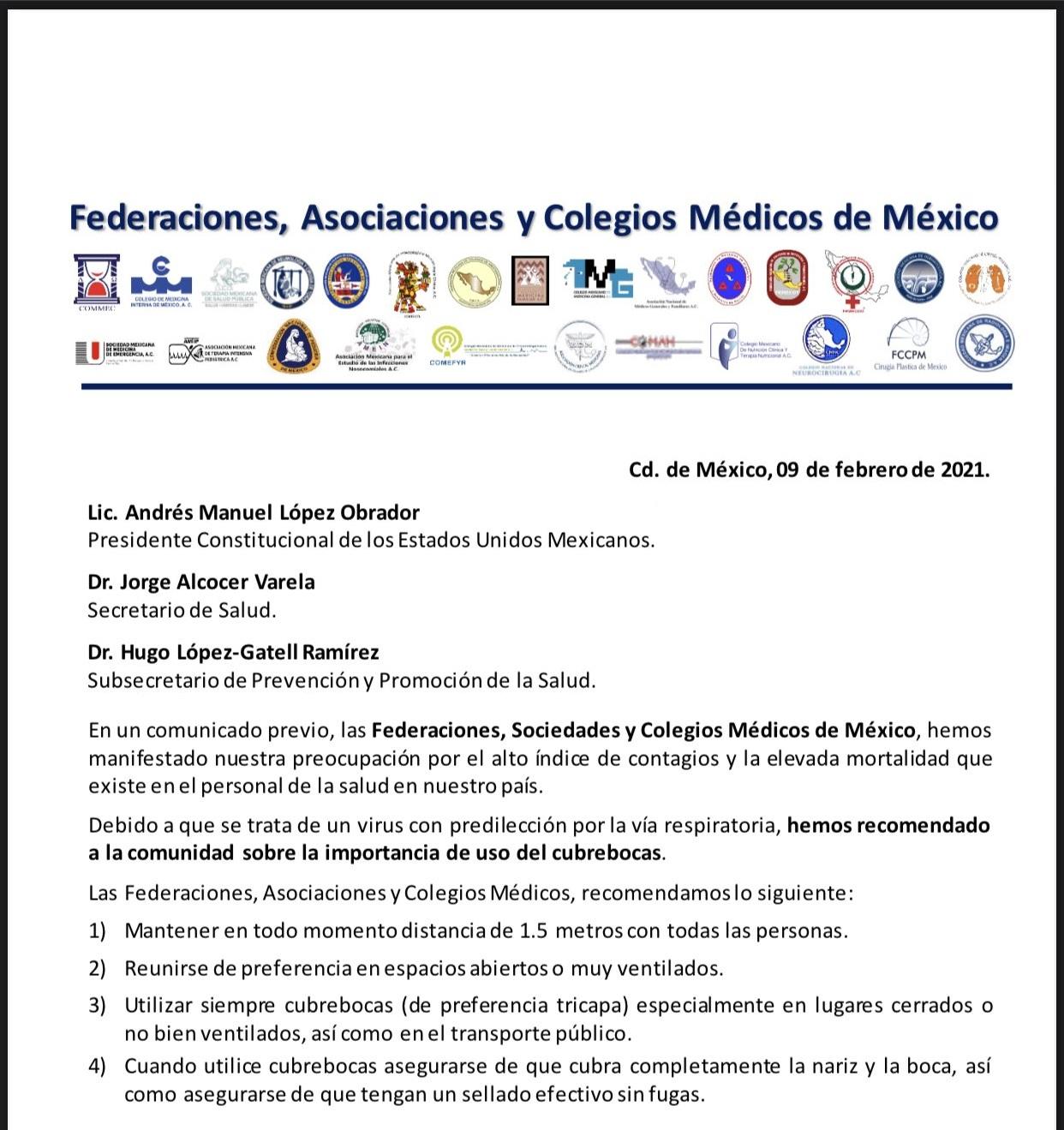 Federaciones Asociaciones y Colegios Médicos de México llaman una vez más a usar cubrebocas